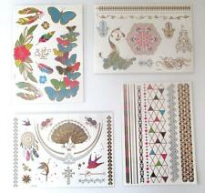 4 Sheets Metallic Gold Colorful Flash Temporary Tattoos Boho Jewelry Butterfly