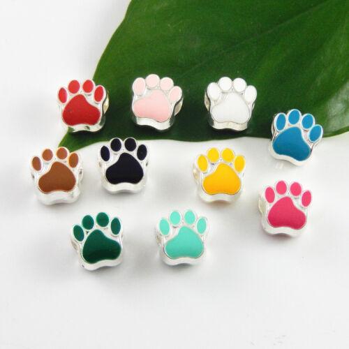 40pcs MultI-Color Alloy Mixed Dog Animal Footprint Bead For Jewelry Bracelet DIY