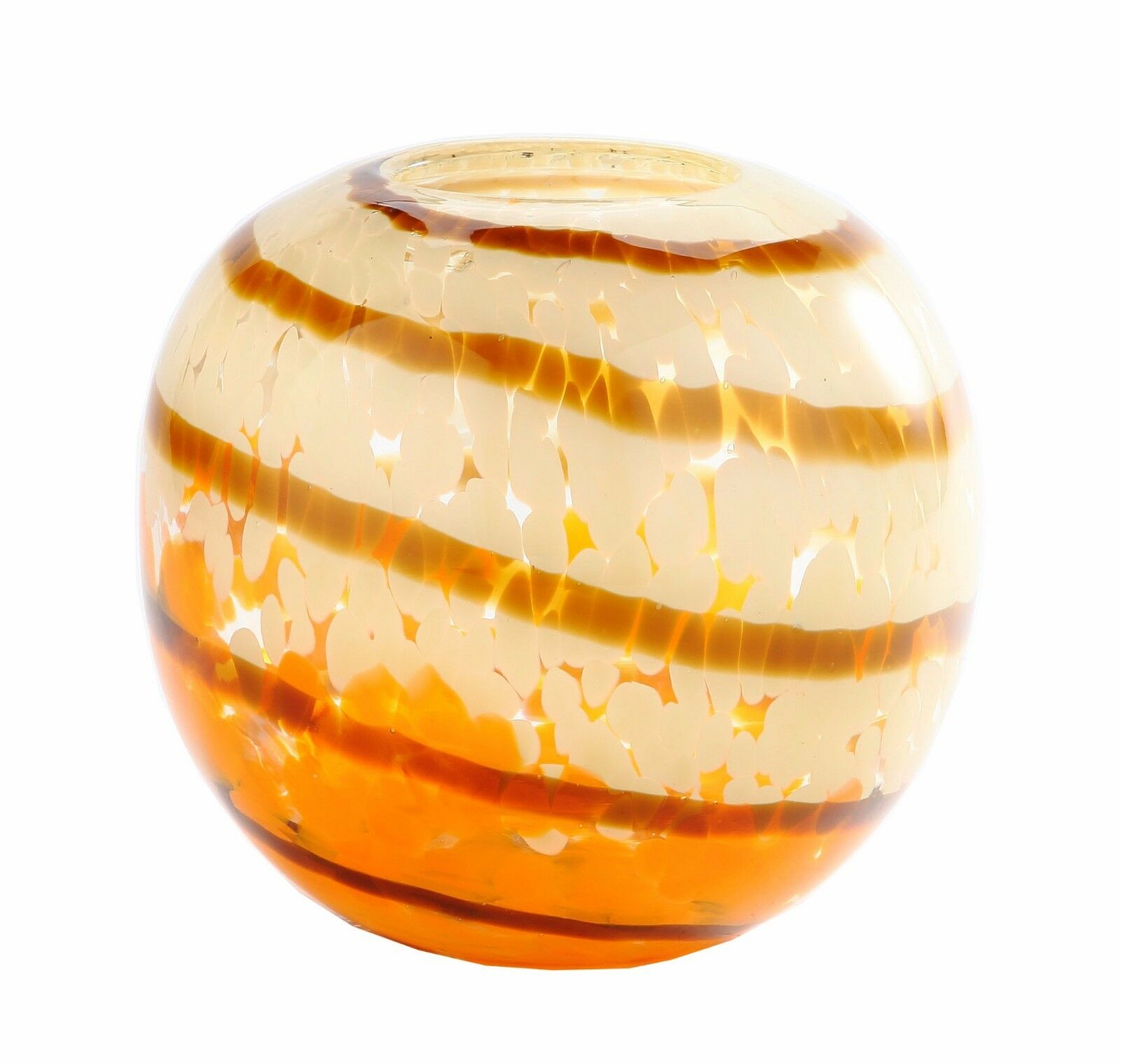 New 6  Hand Blown Glass Art Vase Bowl Orange Weiß Amber Stripes Decorative