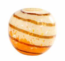 """New 6"""" Hand Blown Glass Art Vase Bowl Orange White Amber Stripes Decorative"""