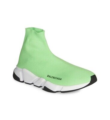 uk availability website for discount attractive price NIB Auth. Balenciaga Green Neon Men's Speed Trainer Knit Sock Shoes 46/13 |  eBay