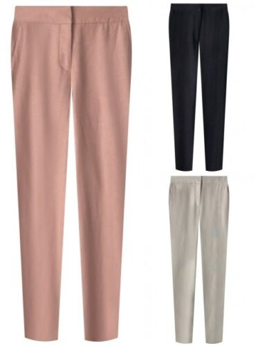 Ex M&S Ladies Linen Navy Beige Pink Casual Trousers Size 6 - 20 Summer