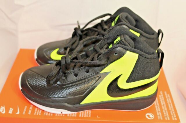 ea8ef7b6a22 New grade school Boys Nike Team Hustle D7 black yellow athletic basketball  shoes