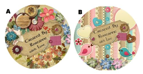 PERSONALIZED SCRAPBOOKING SCRAPBOOK NAME LABELS ROUND STICKERS~SHABBY CHIC ROSES