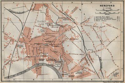 Herefordshire Hereford Antique Town City Plan Broomy Hill Baedeker 1910 Map