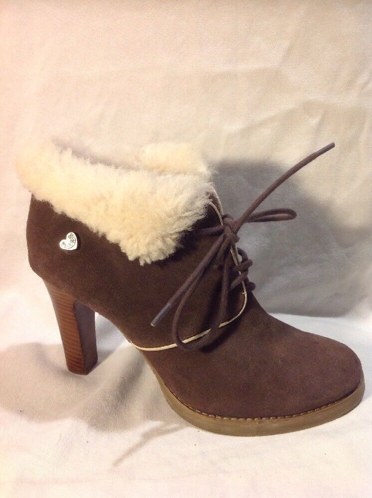 Lollipops Brown Ankle Suede Boots Size 41