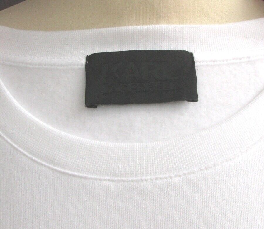 KARL LAGERFELD Sweat shirt bianca coton inscription Karl cuivre métal métal métal M = 38 NEUF ba0c4f
