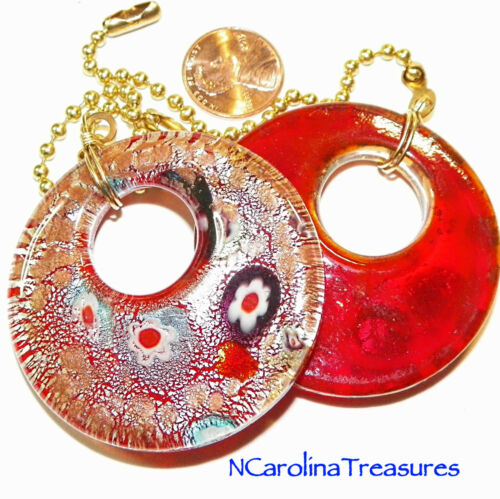 RED GLITTER CIRCLE ART GLASS CEILING FAN LIGHT SWITCH PULL CIRCULAR LARGE PAIR