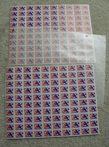 Lot of 2 Vintage Sheets of 50 Charity Stamps 1949 Mental Health for Happiness