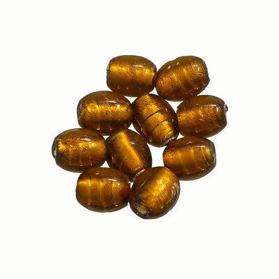 A98//1 Donut Shape Matt Frosted Brown Glass Beads 16mm Pack of 10