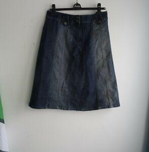 TOPSHOP-Women-039-s-UK-10-Denim-Skirt-Jeans-Blue-Front-Zip-Stitch-Detail
