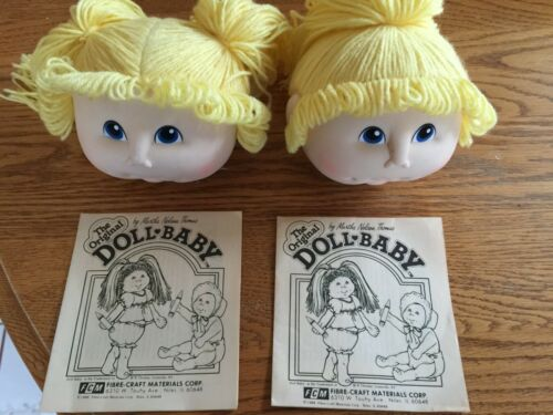 2 The Original DOLL BABY Heads-MARTHA NELSON THOMAS 1984 Pigtail /& Pony Tail