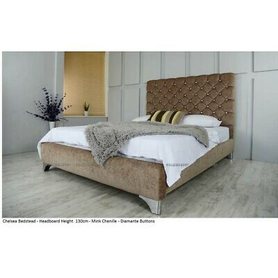 Chelsea Chenille Bed Frame Beautifully Upholstered in  Choice of Fabrics & Sizes