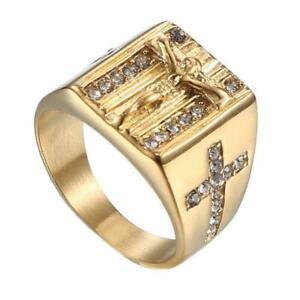 Modeschmuck-Gold-Ringe-fuer-Frauen-Runde-Kristall-Jesus-Maenner-Ring-Kreuz-U5B5
