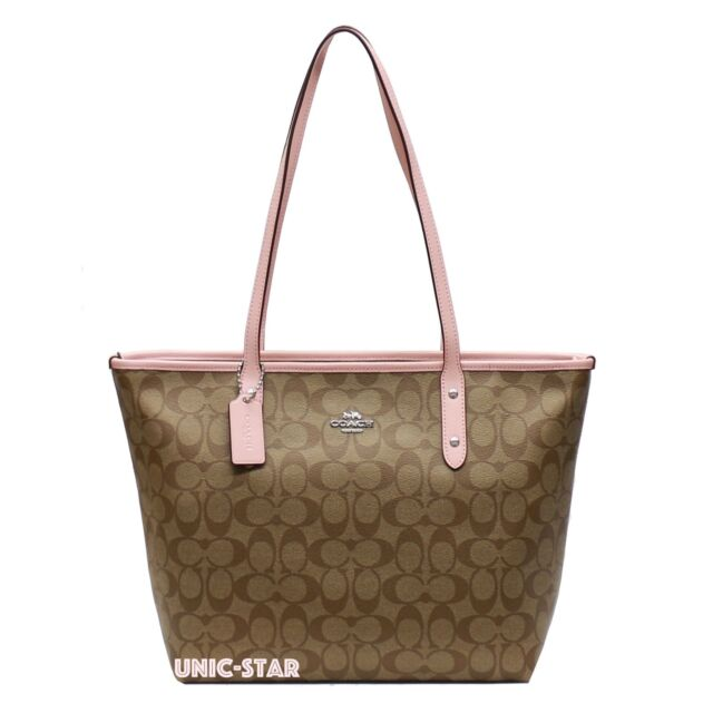 Coach City Zip Tote in Signature Leather Trimmed Khaki Blush 2 F58292 6b07a3841e6ec