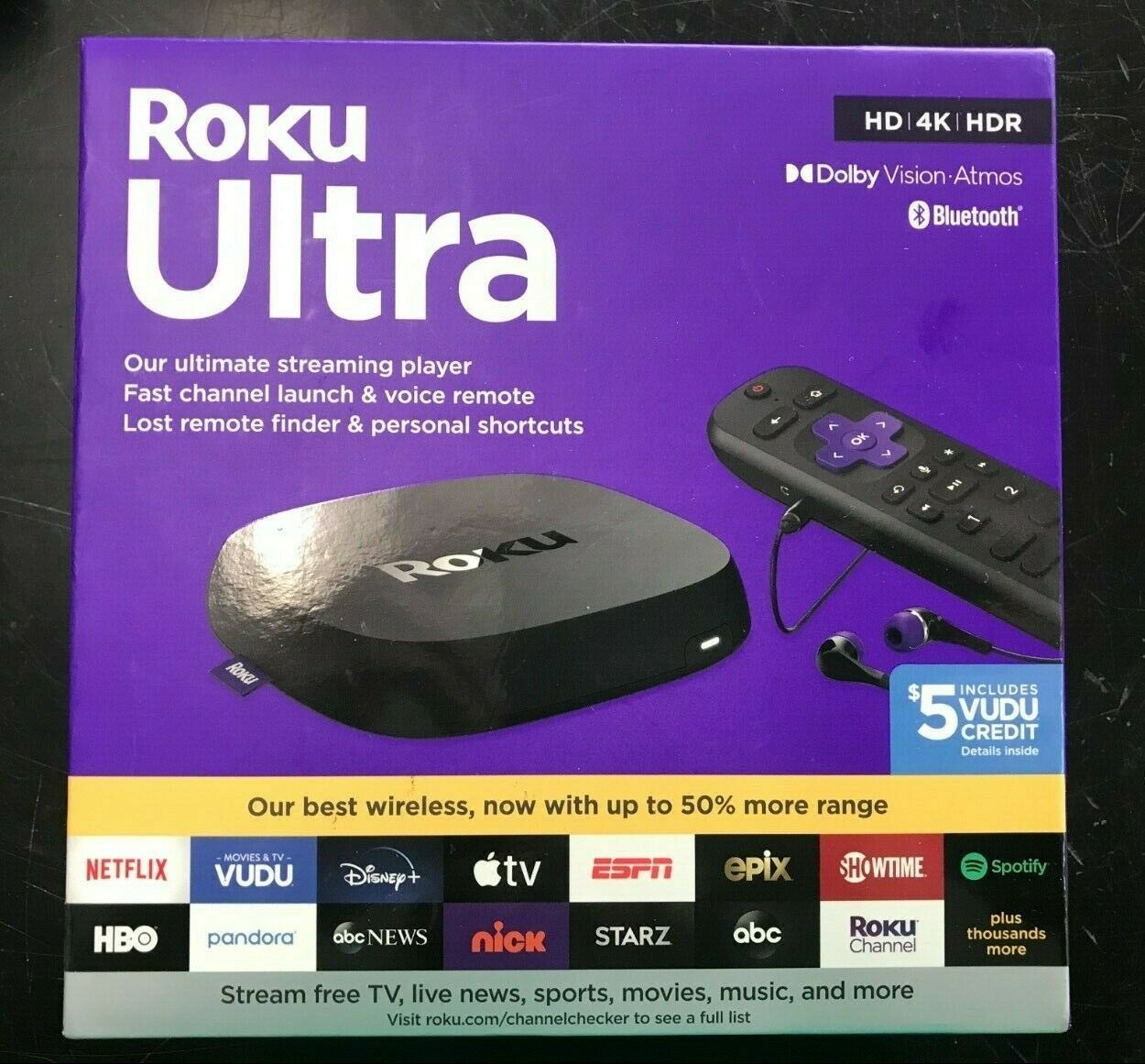 Roku Ultra 2020   Streaming Media Player HD/4K/HDR/Dolby Vision 4800rw 4800rw media player roku streaming ultra vision