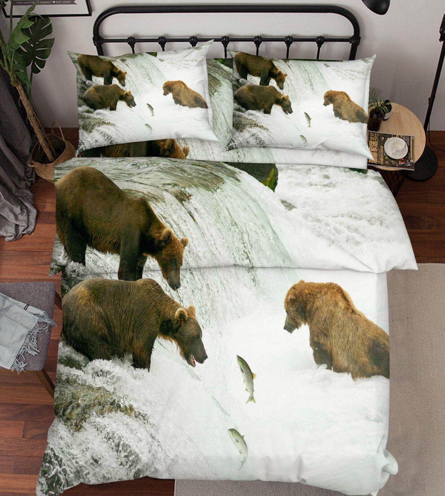 3D Waterfall Bear 808 Bed Pillowcases Quilt Duvet Cover Set Single Queen King CA