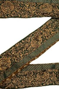 Vintage-Indian-Sari-Border-1Yd-Women-Antique-Sari-Trim-Ribbon-Embroidered-ST2517