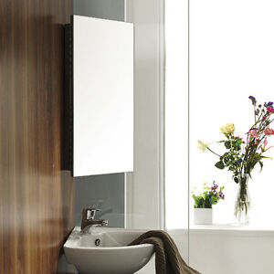 Storage Cabinet Mirror Stainless Steel Corner Wall Mounted Bathroom Single Do