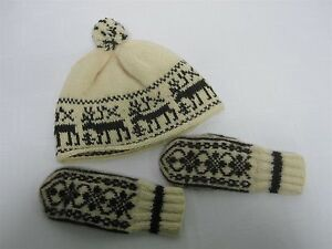 VINTAGE-HAND-KNIT-CHILDS-HAT-amp-MITTENS-with-REINDEER