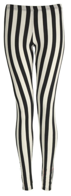 NEW GIRLS CHILDREN STRIPED LEGGINGS WOMENS BLACK WHITE STRIPE 7 YEARS TO SIZE 22