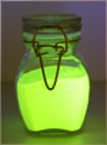 CHARTREUSE GLOW IN THE DARK PIGMENT POWDER, WATER BASED (FREE S&H USA)