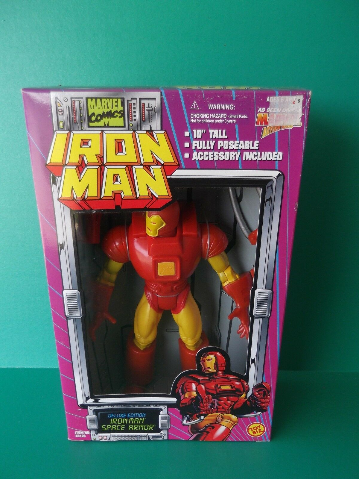 IRON MAN DELUXE EDITION  IRON MAN  SPACE ARMOR 10 IN FIGURE 1995 TOY BIZ
