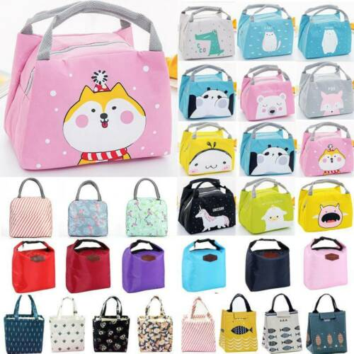 Adult Kids Lunch Bag Reusable Casual Flower Insulated Waterproof Portable Bagbox