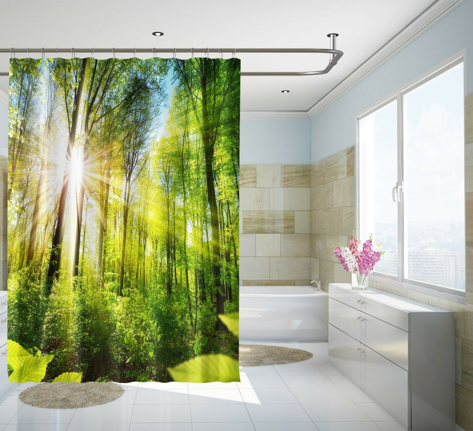 3D Sonne Wald 31 Duschvorhang Wasserdicht Faser Bad Daheim Windows Toilette DE