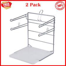 2 Pack Silver Chrome Commercial T Shirt Shopping Bag Dispenser Rack Stand