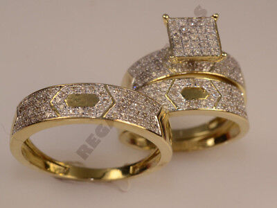 Wedding 14K Solid Gold Over 2.5CT His /& Her 3-pcs All Size Diamond Trio Ring Set