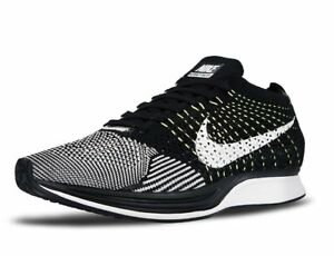 finest selection 48ffc 2c2e3 Image is loading Nike-Flyknit-Racer-Black-amp-White-amp-Volt-