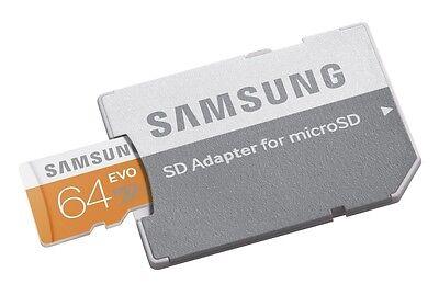 Samsung EVO 64GB MicroSD XC Class 10 Micro SD UHS-1 Memory Card w SD Adapter 64G