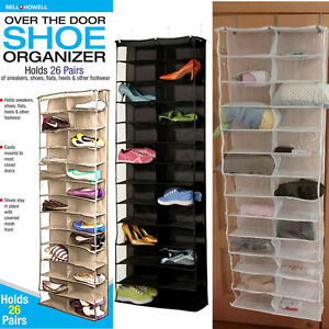 Details About 26 Section Strong Shoe Shelves Over The Door Shoe Rack Hanging Shoe Organizer
