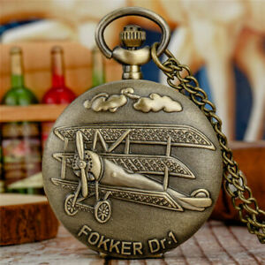 Classical Copper Engraved Germany Fokker Dr. Pocket Watch Necklace Chain Gift
