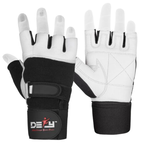 DEFY Heavy Duty Weight Lifting Gloves Gym Training Genuine Leather Padded white