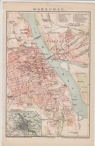 C 1890 Poland Warsau City Plan Antique Map Ebay