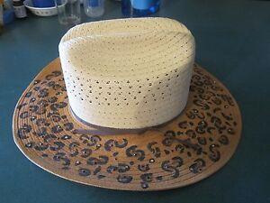 9fe499e77c FUN NEW Genuine TSC Straw Cowboy Hat ~ cheetah w crystals ~ Size 7 ...