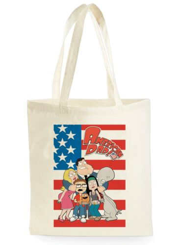 FUNNY AMERICAN DAD POSTER COOL SHOPPING CANVAS TOTE BAG IDEAL GIFT PRESENT