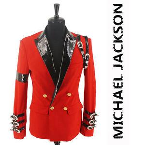 New-Jordan-Michael-Jackson-039-s-bad-leisure-awards-red-blazer-punk-buckle-jacket