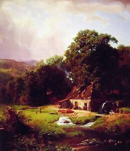 """Handpainted Oil painting The Old Mill house brook in landscape canvas 24""""x36"""""""
