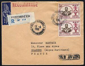 Kambodscha-Khmere-1958-Luftpost-R-Brief-Koenig-Ang-Duong-Paar-nach-Frankreich-17