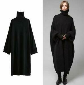 Black-Womens-Loose-Turtle-Neck-Knitted-Sweater-Maxi-Dress-Mid-Long-Winter-Dress