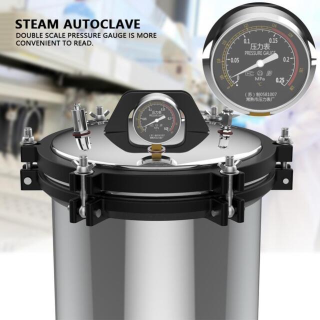18L Stainless Steel Dual Heating Pressure Steam Autoclave Sterilizer Equipment