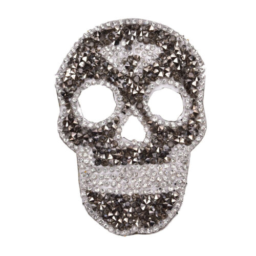 1Pcs Rhinestones skull Embroidered Patch Iron on Sewing Crystal Applique LU