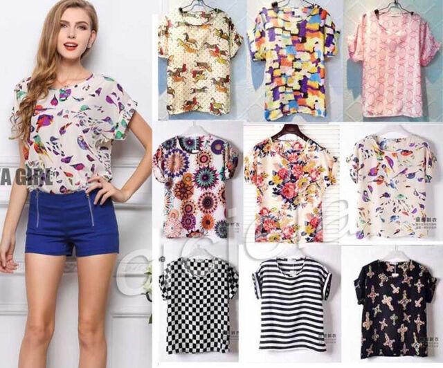 Girls Birds Blouse Sheer Chiffon Top Casual Batwing Short Sleeve Loose T Shirt
