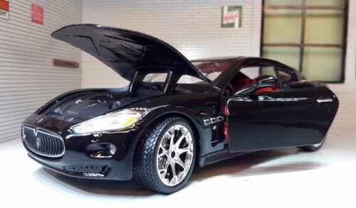 Lgb échelle 1:24 maserati gran turismo 2008 noir burago diecast voiture modèle 22107