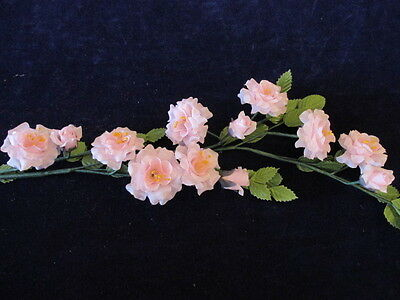 Vintage Millinery Flower Wild Rose Spray Pink Silk for Hat Wedding + Hair NH8