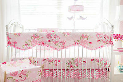 New Levtex Baby Oasis 4 Piece Crib Bumper Bedding Infant Girl Nursery NIP Bright