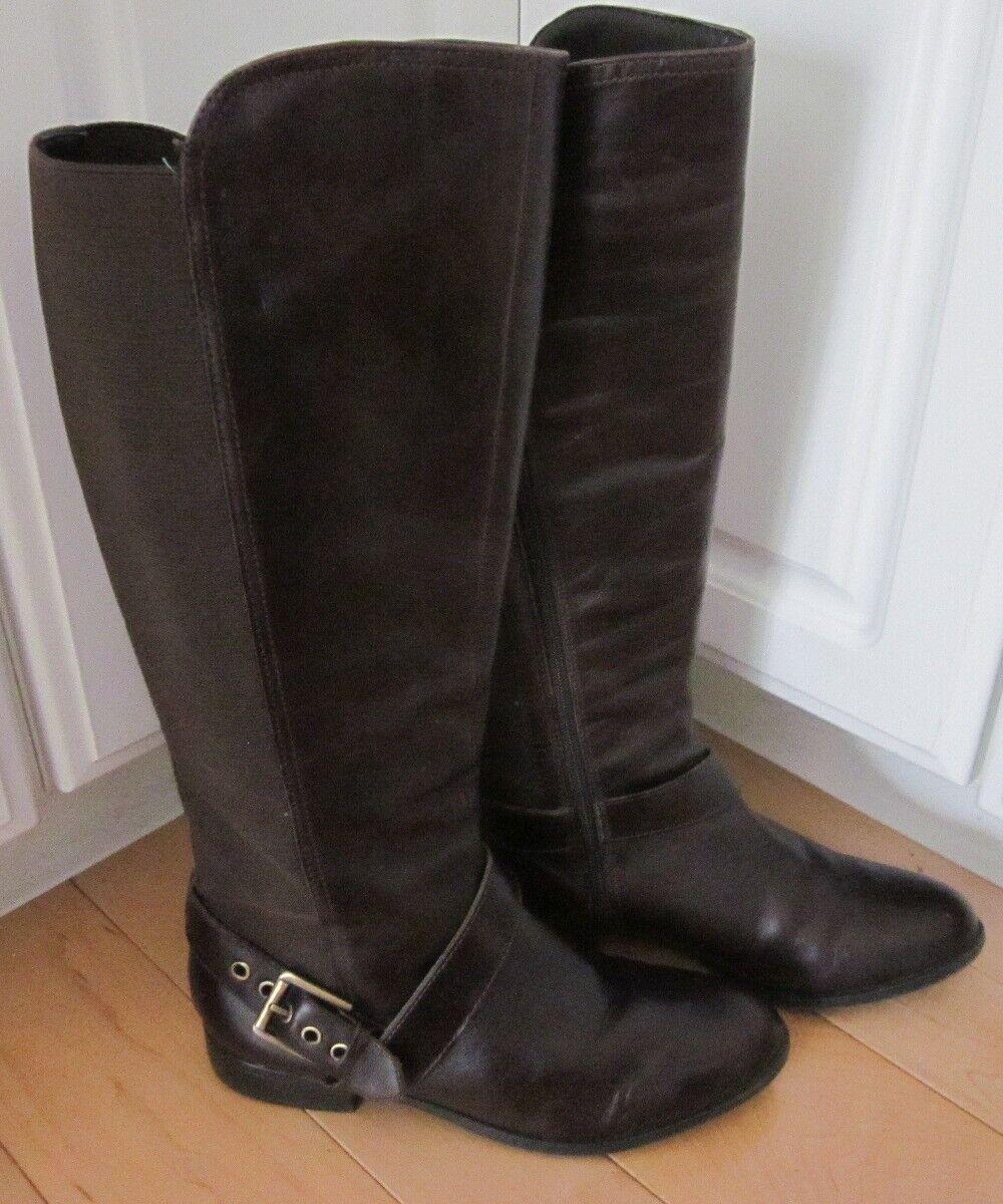 Liz Claiborne Para Mujer De Cuero Marrón Rodilla botas Altas con Elástico 7.5